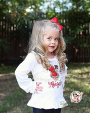 Girls Reindeer with Lights and pearls Shirt Whitesuggar Creations Boutique