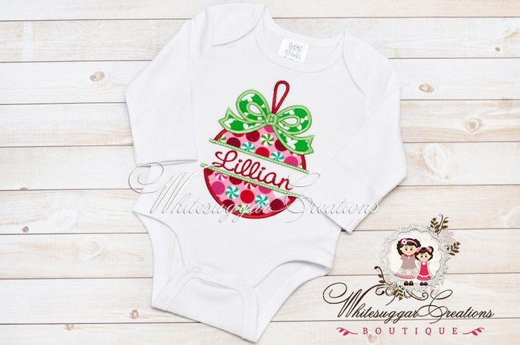 Girls Christmas Ornament Shirt Whitesuggar Creations Boutique