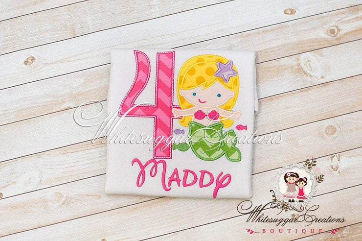 Mermaid Embroidered Birthday Shirt Whitesuggar Creations Boutique