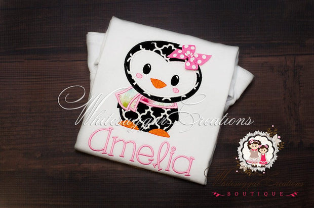 Girls Christmas Penguin Girl Shirt  - Custom Embroidered Girl Penguin Shirt - Baby Girl Outfit - Christmas Gift - Whitesuggar Creations Boutique