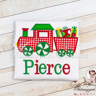 Boys Christmas Train Applique Shirt - Whitesuggar Creations Boutique
