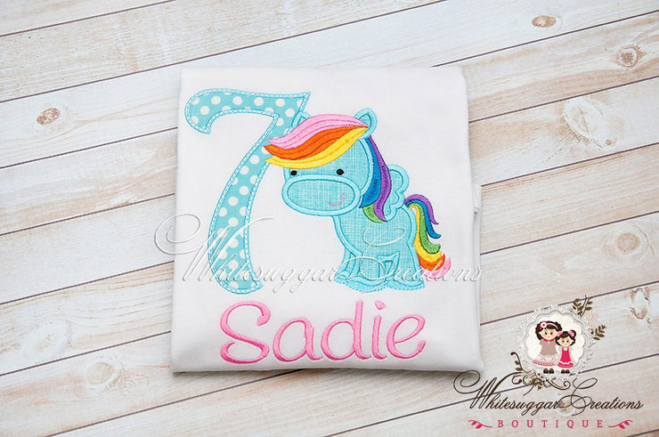 Rainbow Pony Birthday Shirt Whitesuggar Creations