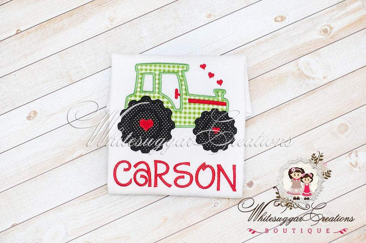 Boys Tractor Shirt with Hearts Valentine's Day Shirt Whitesuggar Creations Boutique