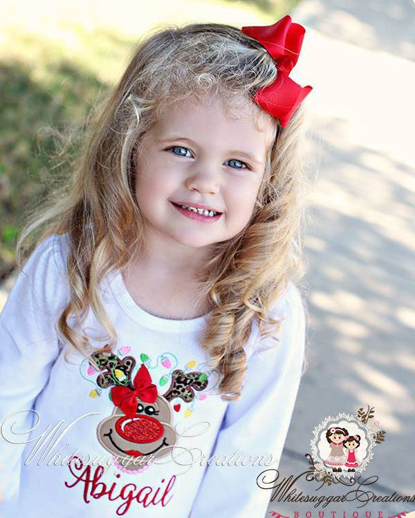 Girls Reindeer with Lights and pearls Shirt - Whitesuggar Creations Boutique