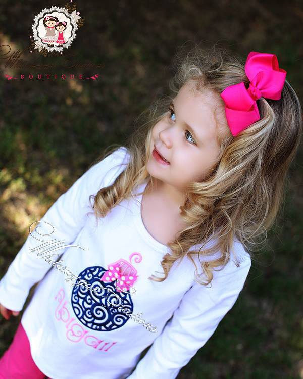 Girls Christmas Scrolls Ornament Shirt - Whitesuggar Creations Boutique