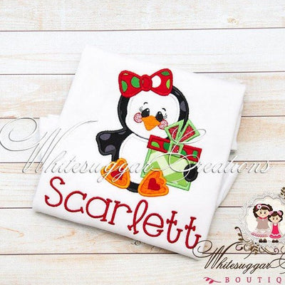 Girls Christmas Penguin Present Applique Shirt - Custom Embroidered Christmas Shirt - Whitesuggar Creations Boutique