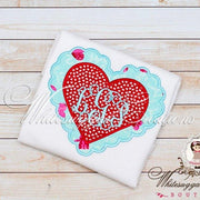Valentines Day Scalloped Monogrammed Heart Shirt Whitesuggar Creations Boutique