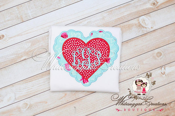 Valentines Day Scalloped Monogrammed Heart Shirt - Girls Custom Shirt - Girls 1st Valentines Day Shirt - Whitesuggar Creations Boutique