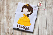 Cutie Princess as Belle the Beauty Personalized Shirt - Whitesuggar Creations Boutique