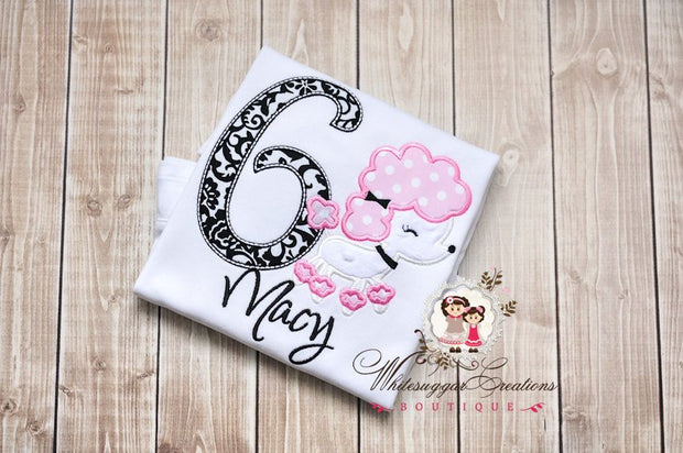 Parisian Poodle Birthday Shirt for Girls - Custom Embroidered Shirt - Baby Girl Birthday Shirt - Paris Birthday Outfit - Whitesuggar Creations Boutique