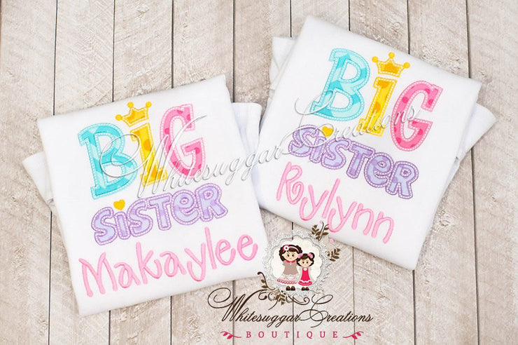 Personalized Big Sister Applique Shirt - Personalized Sisters Shirt - Birth announcement - Whitesuggar Creations Boutique