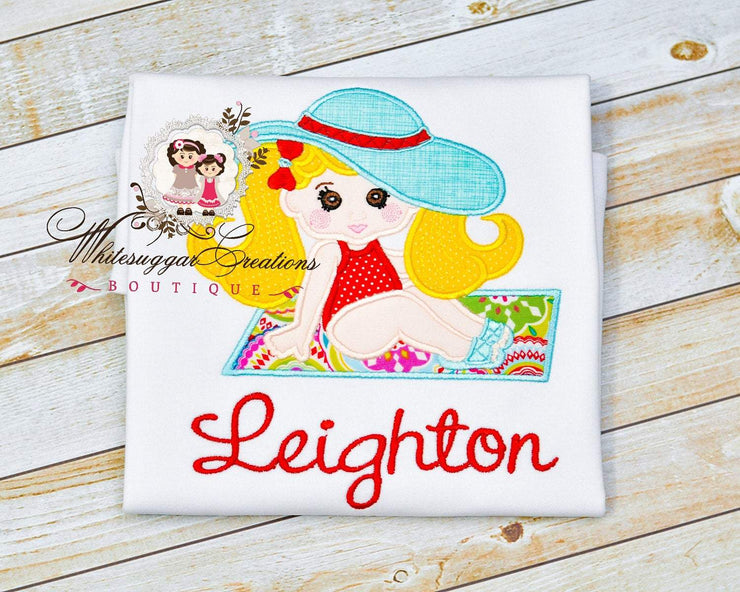 Girl on Beach Towel Embroidered Shirt Whitesuggar Creations Boutique