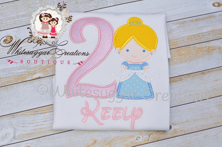 Princess Cinderella Embroidered Birthday Shirt Whitesuggar Creations Boutique