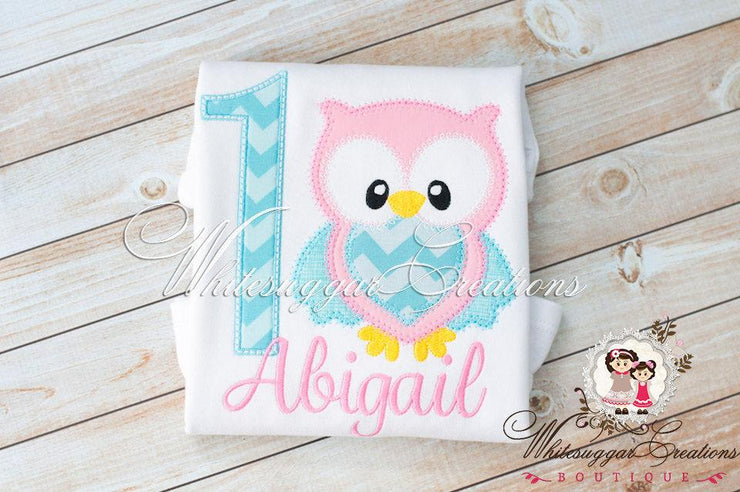 Owl Birthday Girl Embroidered Shirt Whitesuggar Creations Boutique