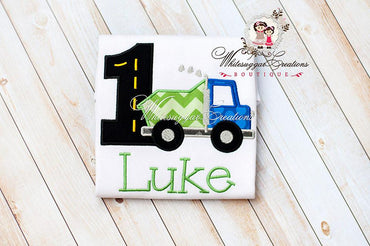 1st Birthday Dump Truck Shirt - Blue Green Dump Truck