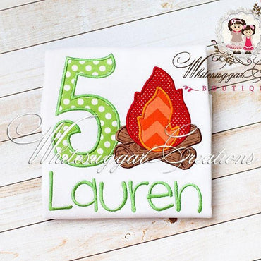 Camp Fire Birthday Shirt for Girls - Embroidered Camping Themed Birthday Shirt - Camp Fire Girls Birthday Shirt - Baby Girl Camping Shirt