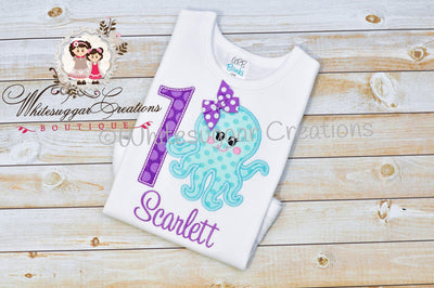 Octopus Embroidered Birthday Shirt
