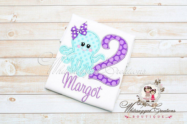 Octopus Embroidered Birthday Shirt Whitesuggar Creations Boutique
