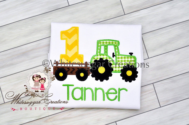 Boy Tractor Birthday Embroidered Shirt Whitesuggar Creations Boutique