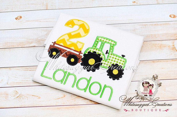 Green Tractor Birthday Embroidered Shirt for Boys Whitesuggar Creations Boutique