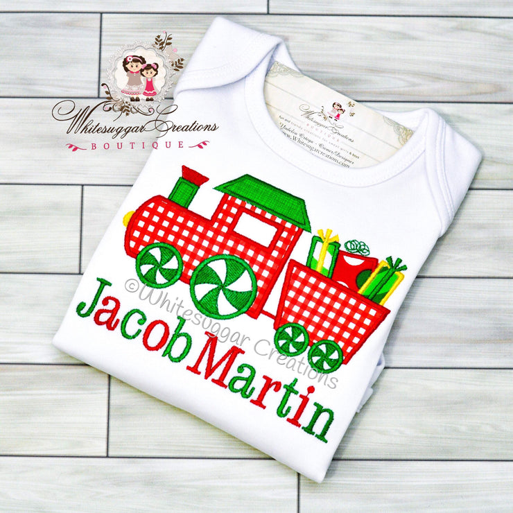 Christmas Train Shirt for Boys Whitesuggar Creations Boutique