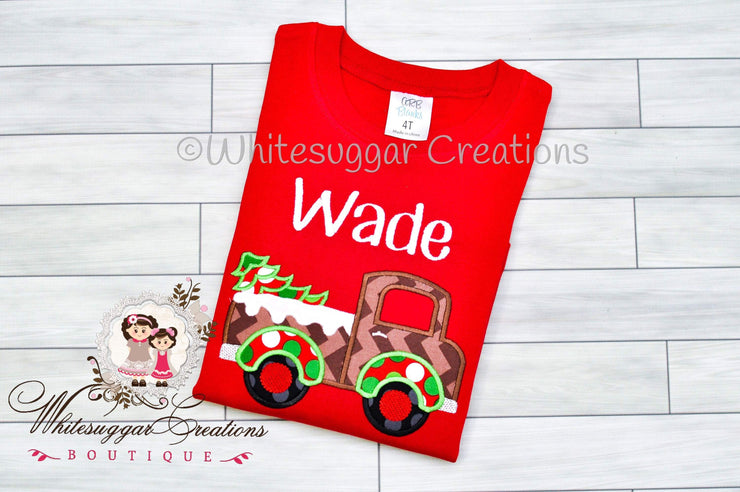 Christmas Truck with Tree Shirt for Boys Whitesuggar Creations Boutique