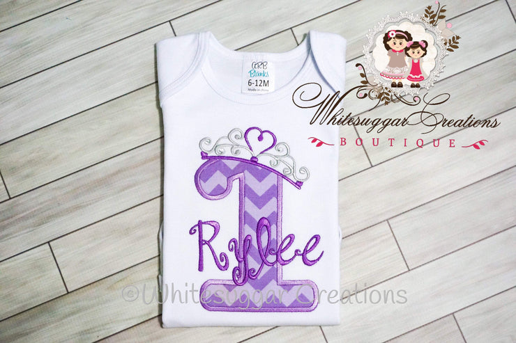 Princess Birthday Girl Bodysuit Whitesuggar Creations Boutique