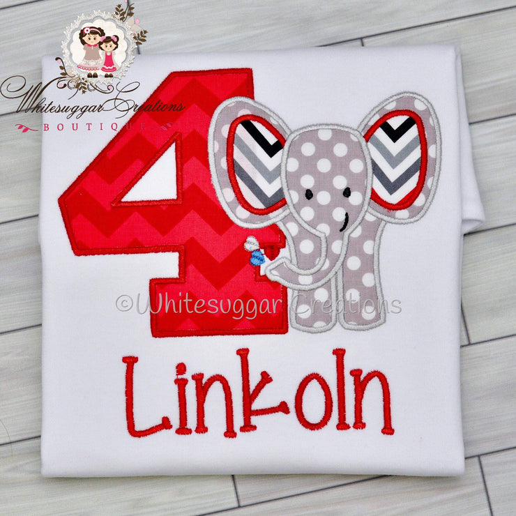 Elephant Birthday Embroidered Shirt