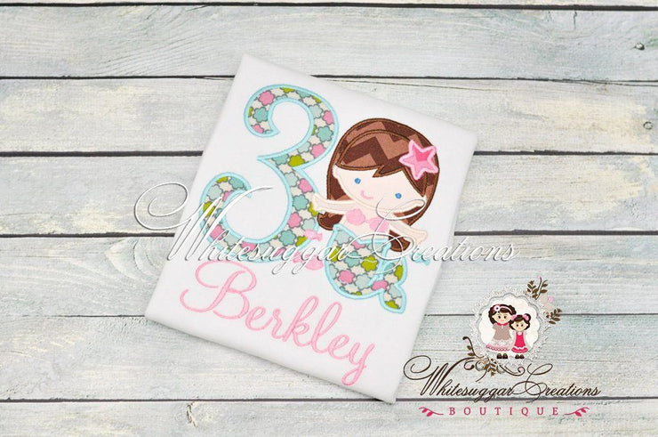 Girl Mermaid Birthday Shirt Whitesuggar Creations Boutique