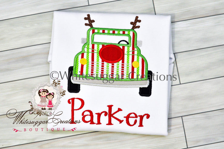 Christmas Truck Shirt with Antlers Bodysuit