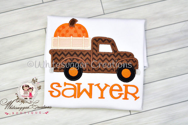 Baby Boy Old Truck Shirt With Big Pumpkin
