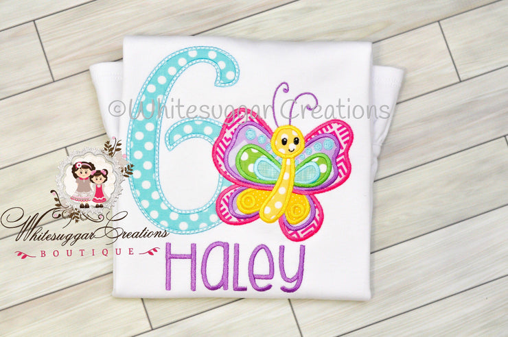 Butterfly Birthday Girl Shirt Whitesuggar Creations Boutique