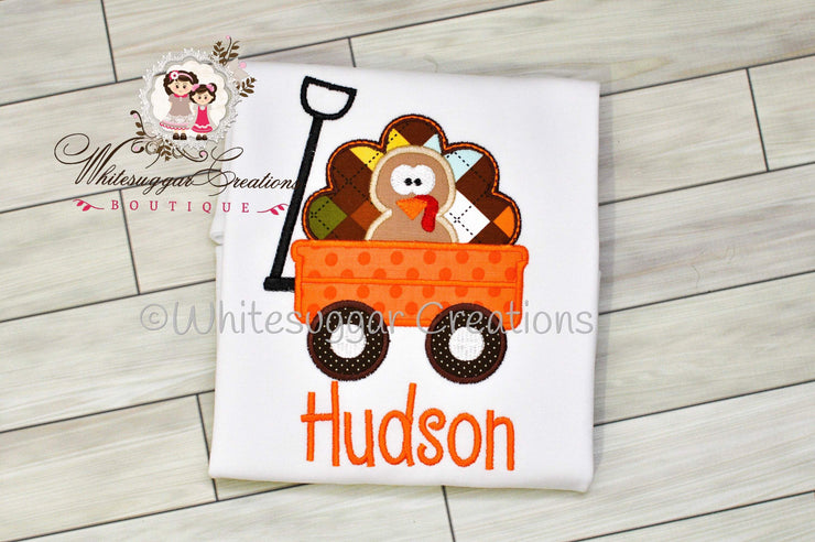 Thanksgiving Turkey Shirt for Boys - Turkey in a Wagon Bodysuit Whitesuggar Creations Boutique