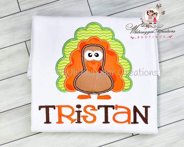 Thanksgiving Turkey Applique Shirt Whitesuggar Creations Boutique