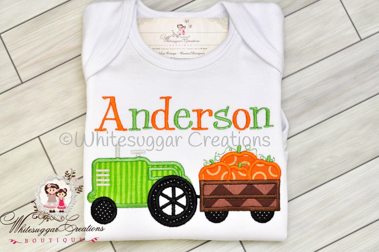 Pumpkin Tractor Embroidered Shirt Whitesuggar Creations Boutique