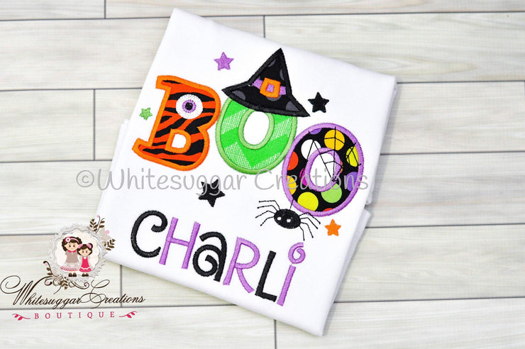 Girls Halloween Witch Hat and Spider Shirt Whitesuggar Creations Boutique