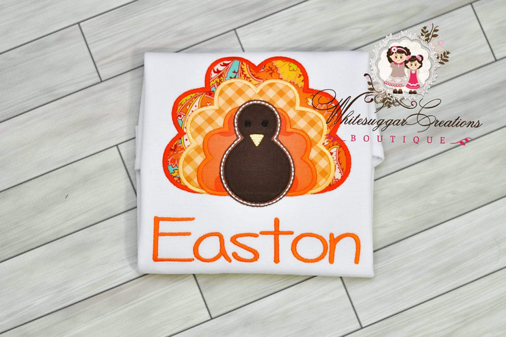 Turkey Thanksgiving Shirt For Boys - Baby Boy Turkey Applique Shirt Whitesuggar Creations Boutique