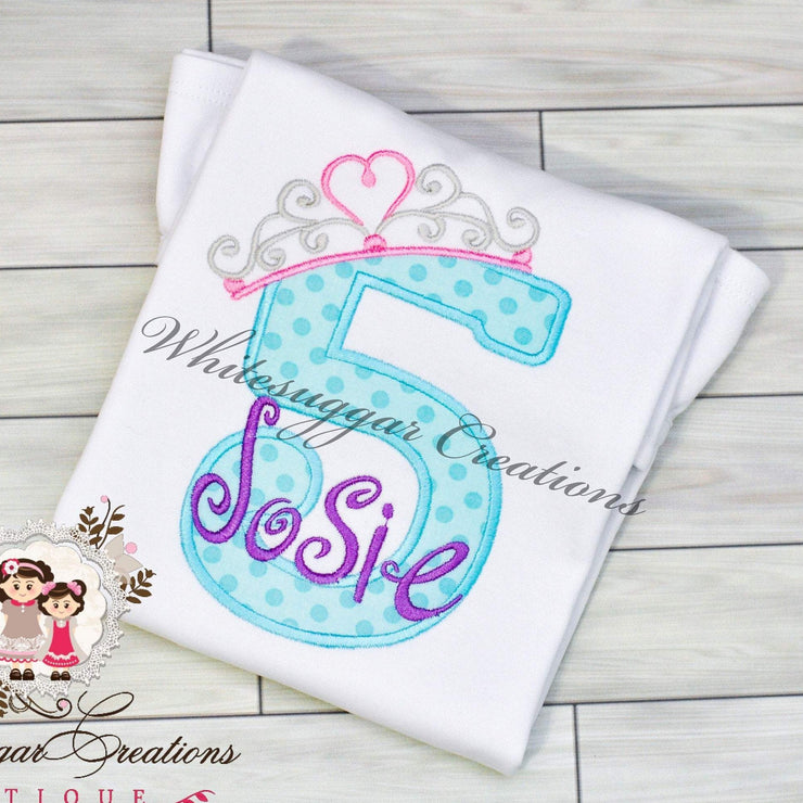 Aqua and Purple Birthday Princess Girl Shirt Whitesuggar Creations Boutique