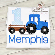 Blue Tractor Birthday Shirt