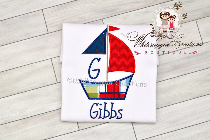 Baby Boy Summer Sailboat T-Shirt Whitesuggar Creations Boutique