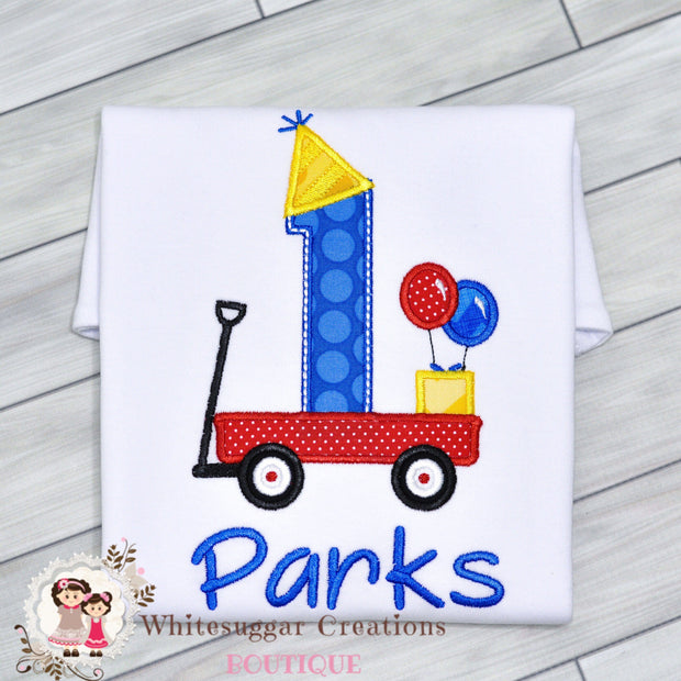 Wagon with Balloons Birthday Boy Shirt Whitesuggar Creations Boutique