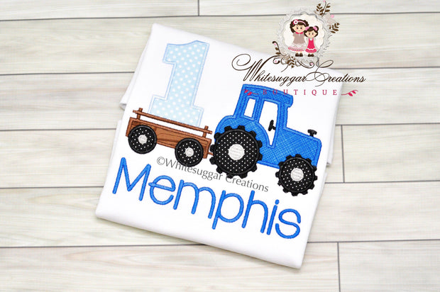 Blue Tractor Birthday Shirt Whitesuggar Creations Boutique