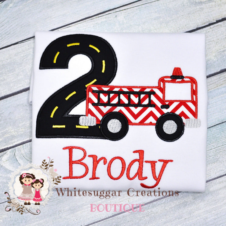 Fire Engine Birthday Boy Shirt Whitesuggar Creations Boutique