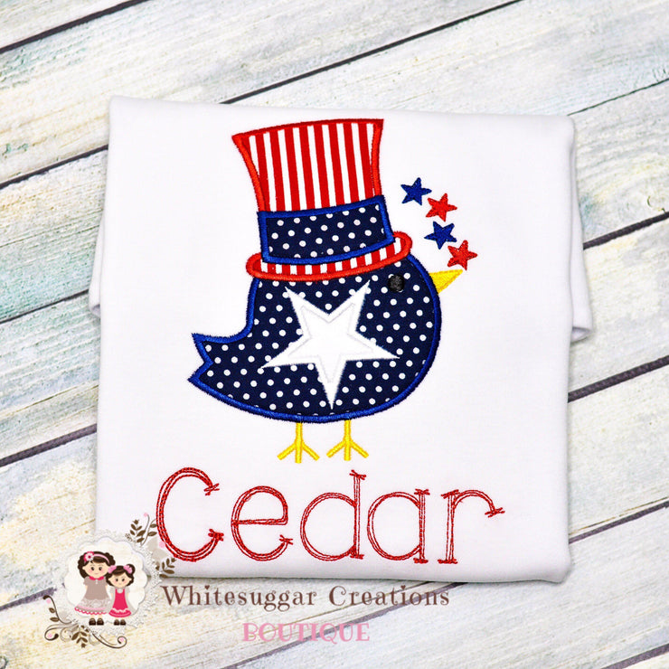 Boy Patriotic Bird with Stars T-Shirt - Memorial Day T-Shirt Whitesuggar Creations Boutique