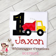 Boy Red Dump-truck Birthday Shirt Whitesuggar Creations Boutique