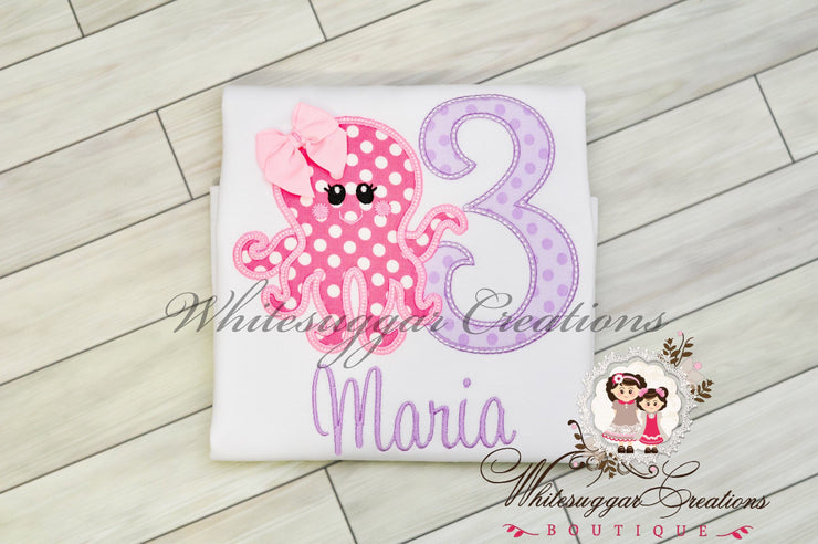 Octopus Birthday Girl Shirt Whitesuggar Creations Boutique