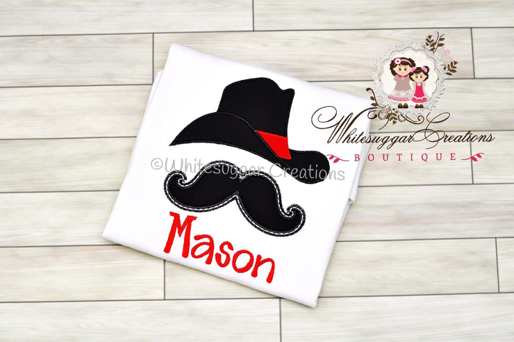 Cowboy Hat and Mustache T-shirt Whitesuggar Creations Boutique