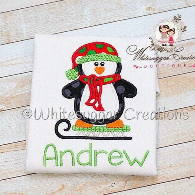 Penguin on Sled Christmas Bodysuit Whitesuggar Creations Boutique