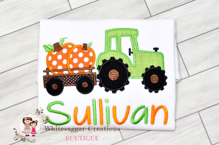 Thanksgiving Pumpkin Tractor Embroidered Shirt Whitesuggar Creations Boutique