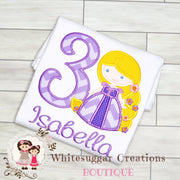 Girl Princess Rapunzel Birthday Shirt Whitesuggar Creations Boutique